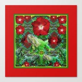 RED HIBISCUS FLOWERS & GREEN IGUANAS Canvas Print