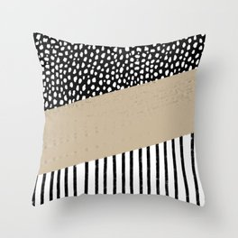 Polka Dots and Stripes Pattern (black/white/tan) Throw Pillow