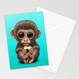 Cute Baby Monkey With Football Soccer Ball Stationery Cards
