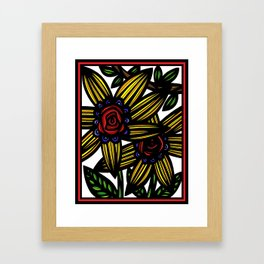 Apocope Flowers Yellow Red Blue Framed Art Print