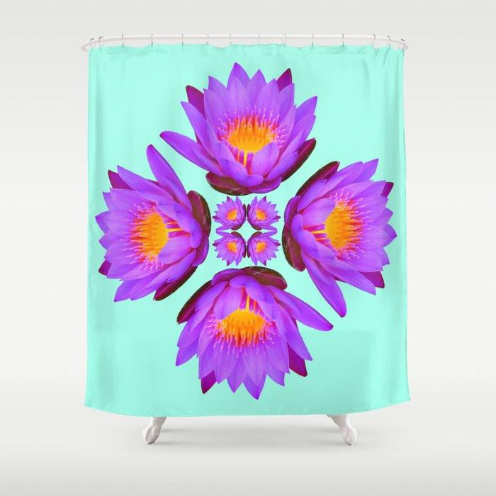 Purple Lily Flower - On Aqua Blue Shower Curtain