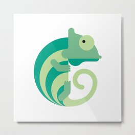 Minimalistic wildlife 08 –Chameleon Metal Print