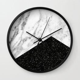 Ebony marble geo Wall Clock