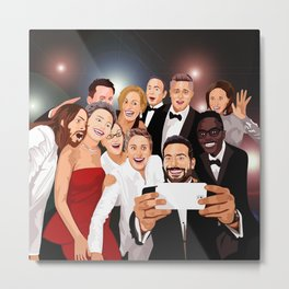 Cute Celebrity Selfie Photo Cartoons iPhone 4 4s 5 5s 5c, ipod, ipad, pillow case and tshirt Metal Print