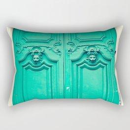 Paris door, turquoise Rectangular Pillow