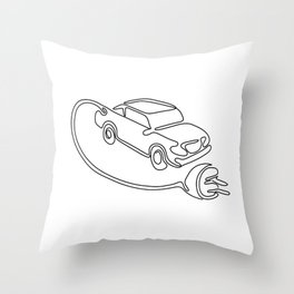 Electric Vehicle Charging Continuous Line Throw Pillow