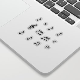 Music notes in black and white Sticker