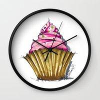 cupcake Wall Clocks featuring Cupcake by Svitlana M