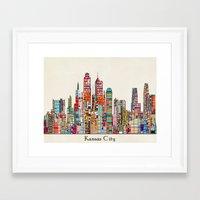 kansas city Framed Art Prints featuring kansas city Missouri skyline by bri.buckley