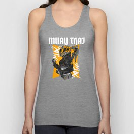 Muay Thai Biker Girl Orange Unisex Tank Top