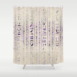Amethyst Egyptian hieroglyphics on canvas Shower Curtain