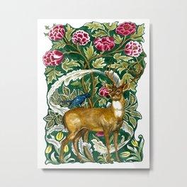 Tapestry Deer Original Watercolor Metal Print