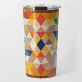 Geometric Triangle - Ethnic Inspired Pattern - Orange, Blue Travel Mug