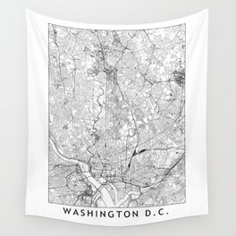 Washington D.C. White Map Wall Tapestry