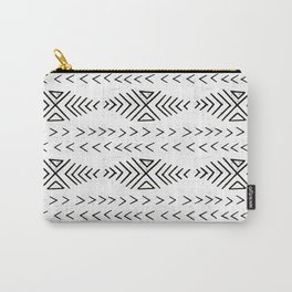 Mudcloth black and white linocut pattern geometric minimal modern trendy design Carry-All Pouch