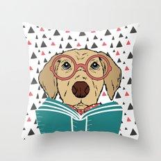 Reading Dog Throw Pillow
