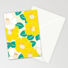 Japanese Style Camellia - Yellow and White Stationery Cards