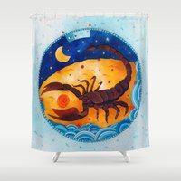 scorpio Shower Curtains featuring Scorpio by Sandra Nascimento