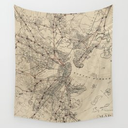Vintage Map of Boston Railroads (1876) Wall Tapestry