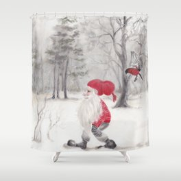 Gnome and bullfinch Shower Curtain