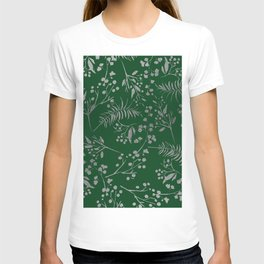 Forest green country chic faux silver floral leaves T-shirt