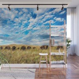 Buffalo on the American Prairie Landscape Painting by Jeanpaul Ferro Wall Mural