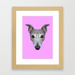 Whippet // Lilac Framed Art Print