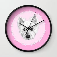 westie Wall Clocks featuring Westie  by sarah illustration