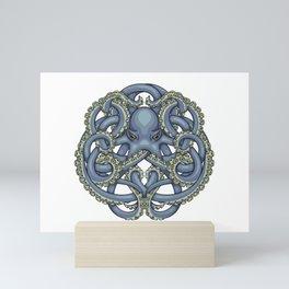 Octopus Emblem Blue Mini Art Print