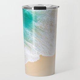 Sand Beach - Waves - Drone View Photography Travel Mug