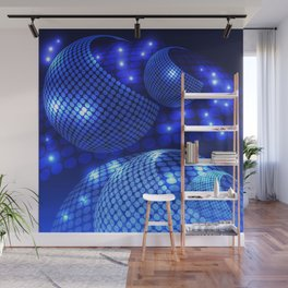 Abstract Disco Blue Wall Mural