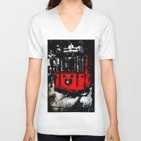 subway V-neck T-shirts featuring subway by gizem sevinç