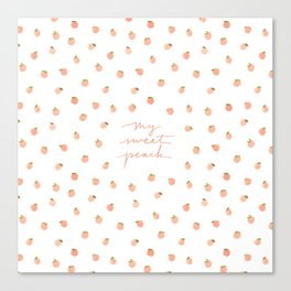 Sweet Peach Polka Dot, White Canvas Print
