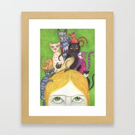 Cats on the brain Framed Art Print