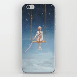 The lovely girl shakes on a swing iPhone Skin