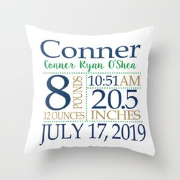 Conner birth pillow Throw Pillow