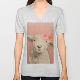 Flower Sheep Girl Portrait, Dusty Flamingo Pink Background Unisex V-Neck