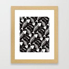 Fish Bone Black & White Framed Art Print