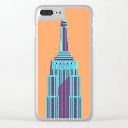 Empire State Building New York Art Deco - Orange Clear iPhone Case