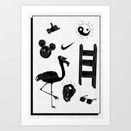 ☯  ~ • ✈ ♈ ☼ ♫ ☥ • ~  ☯ Art Print