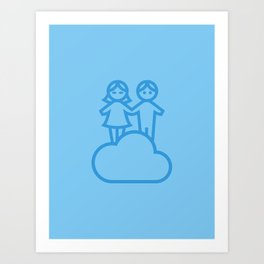 Couple in the clouds Art Print