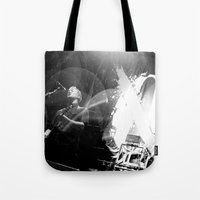 queens of the stone age Tote Bags featuring Josh Homme (Queens of the Stone Age) - I by Tomás Correa Arce (RockMe TommyBoy)