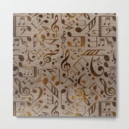 Golden pyrography  Musical notes pattern on wood Metal Print