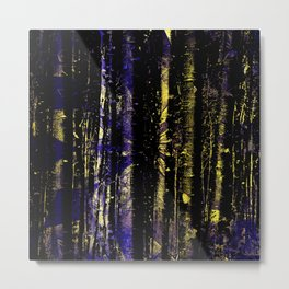 362 Abstract Blue Violet and Gold Rippling Trees Metal Print