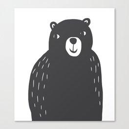 Bear Print – Charcoal and White by Tasha Johnson Canvas Print
