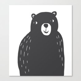 Bear Print – Charcoal and White by Tasha Johnson Canvas Print