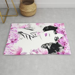 CLARA WOMAN PINK ORCHIDS AND MAGNOLIAS Rug