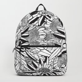 Black and White Protea Garden Backpack
