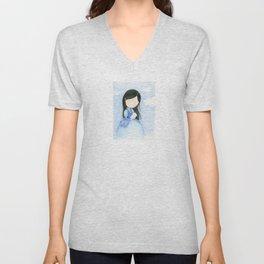 Blue girl with rabbit | watercolor children art Unisex V-Neck