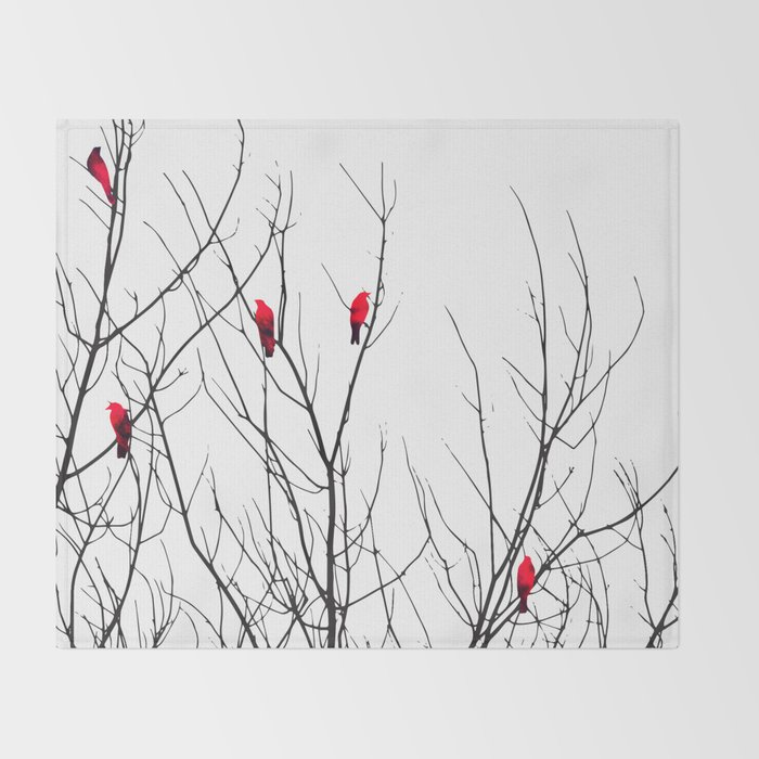 Artistic Bright Red Birds on Tree Branches Throw Blanket